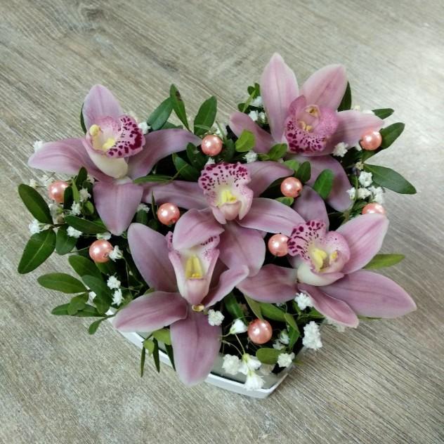 Сердечко с орхидеями №1